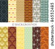 set of 12 vintage abstract backgrounds - stock