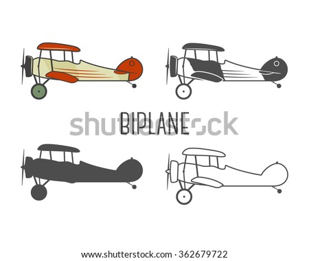 Set of vintage aircraft design elements. Retro Biplanes in color, line, silhouette, monochrome designs. Aviation symbols. Biplane emblem. Old style planes. Isolated on white background. - stock vector