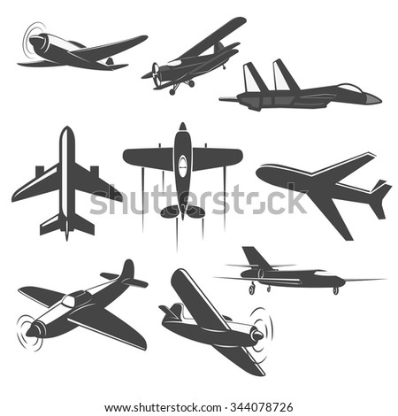 Set of Vintage airplanes from different angles. Planes silhouettes. battle-plane.   Logotype, emblem,label design elements in vector. - stock vector