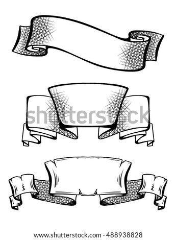set vintage ancient scrolls ribbons hatching stock vector 488938828 shutterstock. Black Bedroom Furniture Sets. Home Design Ideas