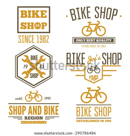 Set of vintage and modern bicycle shop logo badges and labels - stock vector