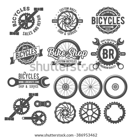 Set of vintage and modern bicycle shop logo badges and labels. Bicycle wheel isolated vector, bicycle parts icon, bicycle shop and repair logotypes, bicycle  chain, bicycle old style badge template - stock vector