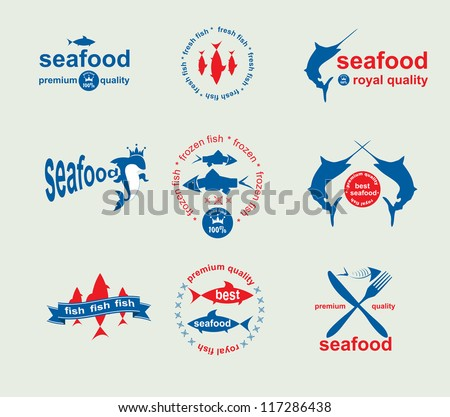 Set of vintage and modern seafood labels for restaurant and seafood trade