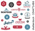 Set of vintage and modern seafood logo restaurant labels - stock vector