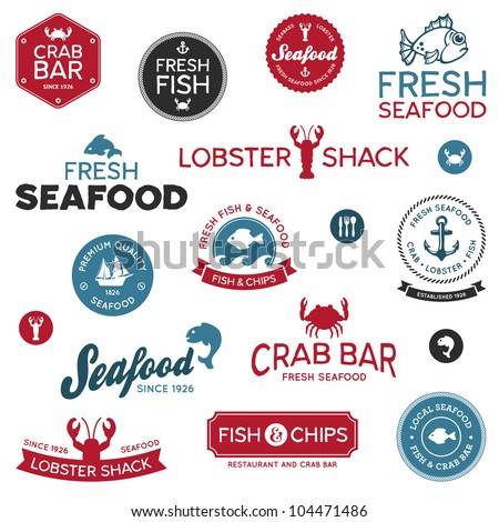 Set of vintage and modern seafood logo restaurant labels