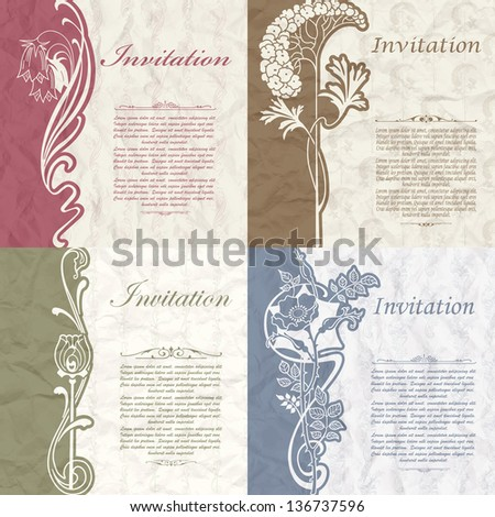 Set of vintage background for the invitation with flowers - stock vector