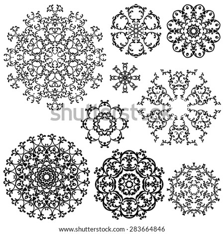 Set of Vintage backgrounds, Guilloche ornamental circle Elements for Certificate, Money, Diploma, Vouchers. - stock vector