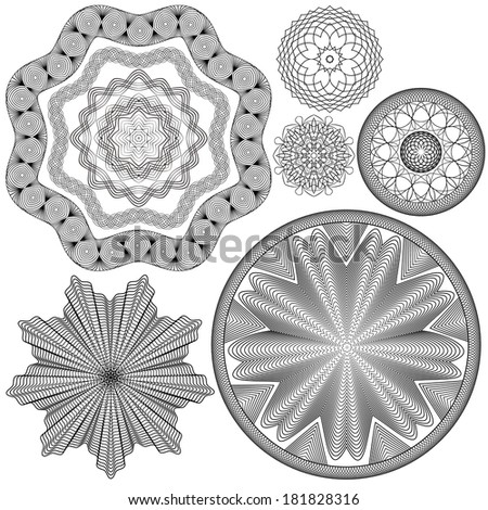 Set of Vintage backgrounds, Guilloche ornamental Element for Certificate, Money, Diploma, Voucher, decorative round frames - stock vector