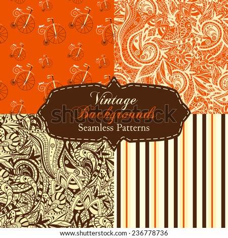 Set of vintage backgrounds (seamless pattern) with ornament, stripes, bicycles in red and brown colors