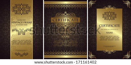 Set of vintage backgrounds with a frames. Luxury design.  Can be used as certificate        - stock vector