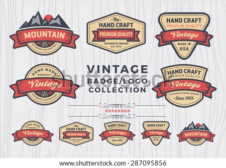 Set of vintage badge/logo design, retro badge design for logo, banner, tag, insignia, emblem, label element - stock vector