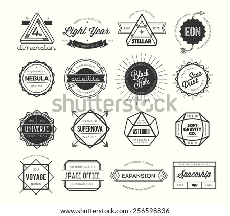 set of vintage badges and labels, inspired by space themes, vector illustration - stock vector