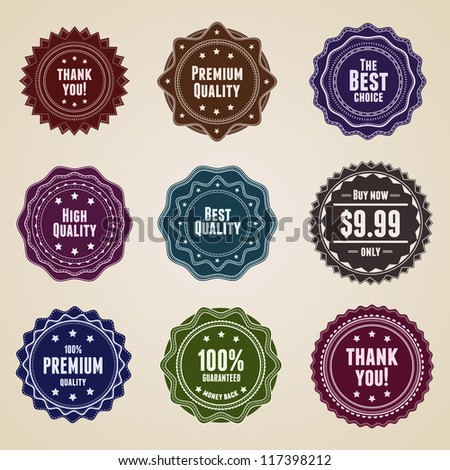 Set of vintage badges and labels. This vector image is fully editable. - stock vector