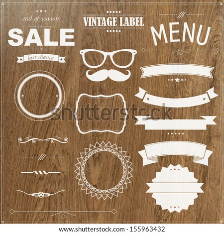 Set Of Vintage Badges With Wood Background - stock vector