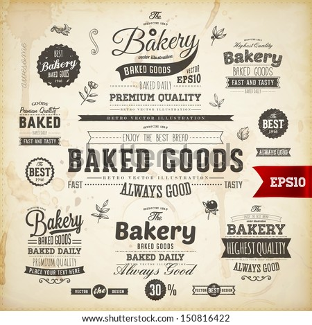Set of vintage bakery logo badges and labels for retro design - stock vector