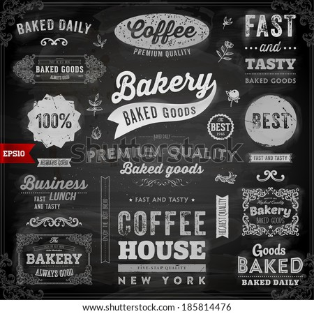 Set of Vintage Bakery Logo Badges and Labels for Retro Design. Chalkboard Background, Chalk Design. - stock vector
