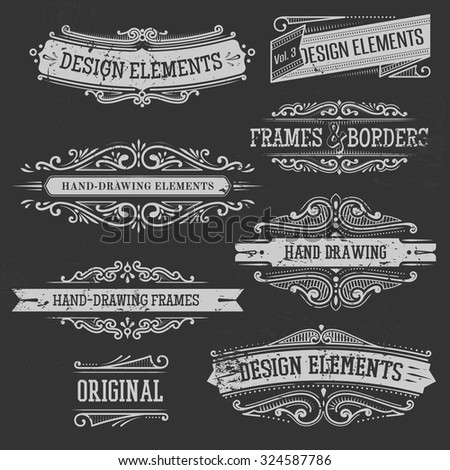 set of vintage banners, borders and frames
