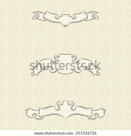 Set of vintage banners ribbons and seamless wallpaper with floral patterns - stock vector