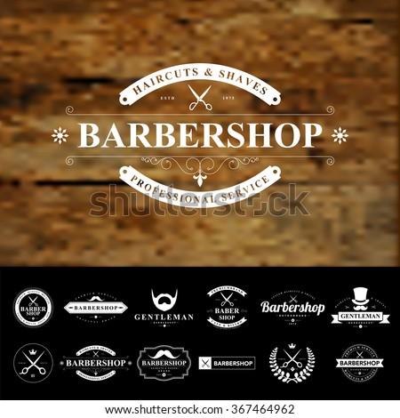 Set of vintage  barber badges and labels - stock vector