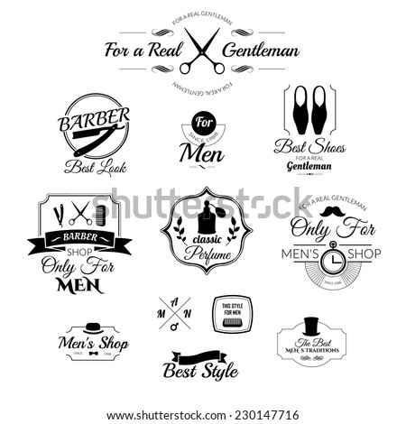 Set of vintage barber shop abels, badges and design element. Gentleman set. Set of labels for mens clothing and accessories. Icons for your design. - stock vector