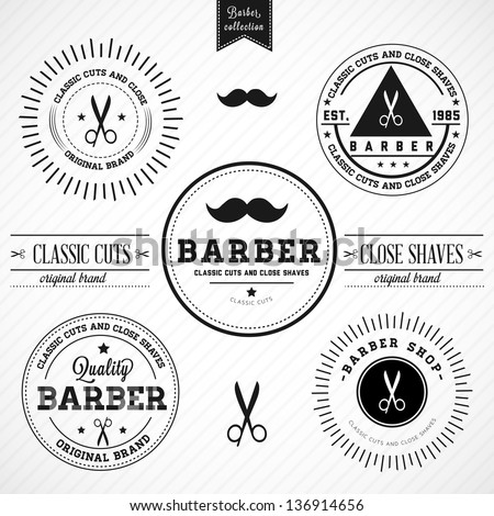 Set of vintage barber shop badges - stock vector