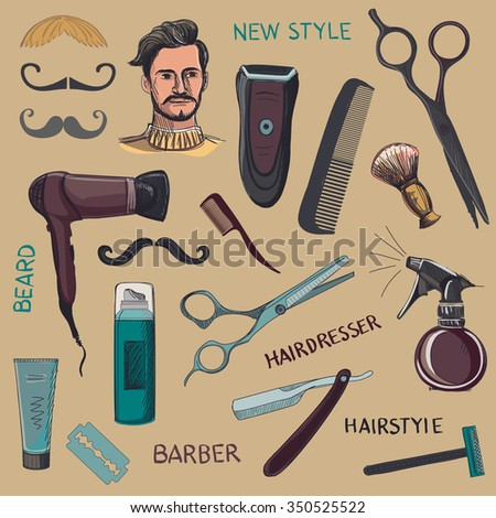 Set of vintage barber shop elements. Scissors, razor, shaving brush, barber pole, shaving mirror, mustache, comp. Blue background - stock vector