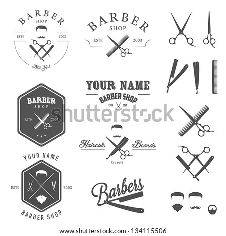 Set of vintage barber shop logo, labels, badges and design element - stock vector