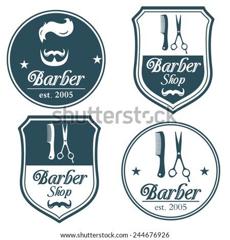 Set Of Vintage Barber Shop Logo Labels Badges For Your Design