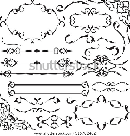 Set of vintage baroque art elements is on white - stock vector