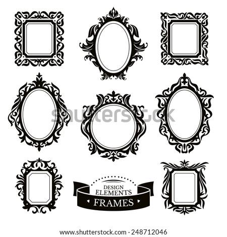 Set of vintage baroque frames vector illustration - stock vector