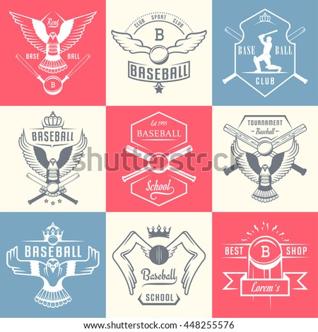 Set of vintage baseball labels, logo, sign, badges and outfit. Collection of club emblem and design elements. Tournament professional symbol and sports graphic. - stock vector