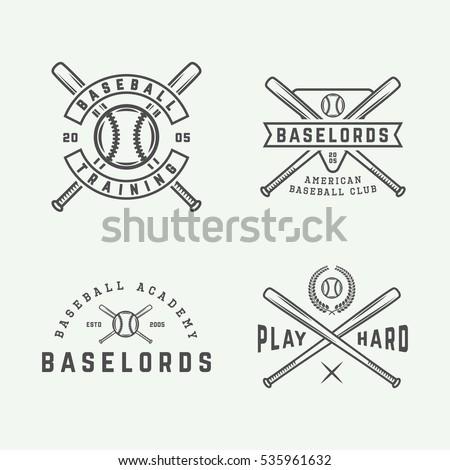 Baseball logo stock images royalty free images vectors set of vintage baseball logos emblems badges and design elements vector illustration sciox Image collections