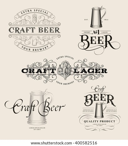 Set of vintage beer logos. Brewing labels and design elements - stock vector