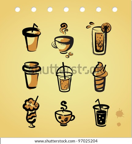 Set of vintage beverage icons - stock vector
