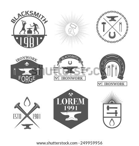Set of vintage blacksmith labels, badges, emblems and design elements - Vector illustration. - stock vector