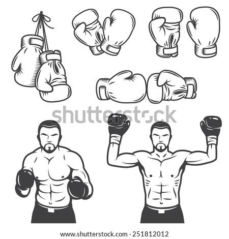 Set of vintage boxing emblems, labels, badges, logos and designed elements. Monochrome style - stock vector