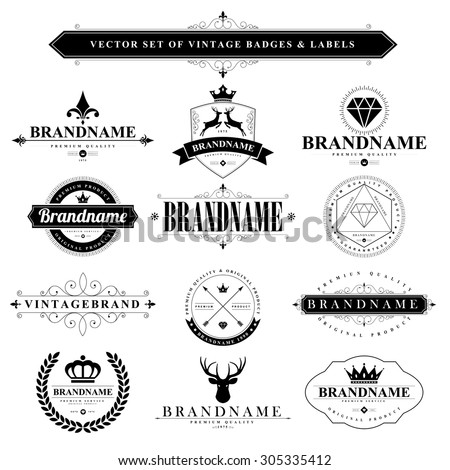 Set of vintage brand badges and labels - stock vector