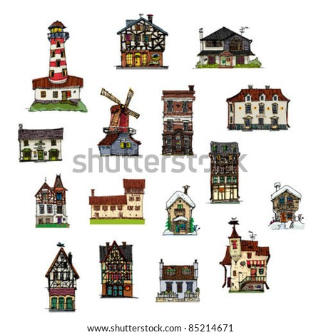 set of vintage buildings - stock vector