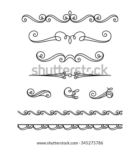 Set of vintage calligraphic vignettes, flourishes, decorative borders and divider elements in retro style, vector scroll embellishment on white - stock vector