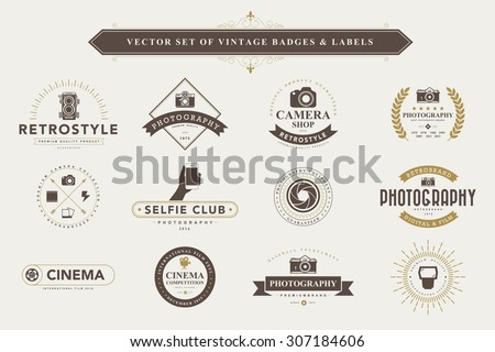 Set of vintage camera badges and labels - stock vector