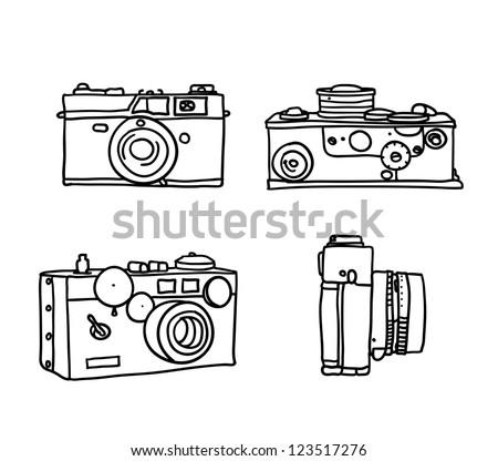 set of vintage cameras - stock vector