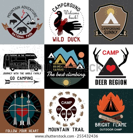 Set of vintage camping logos. Vector logo templates and badges with animals, forest, mountain, tent, campfire, antlers. Symbols of the national park and open camp. - stock vector