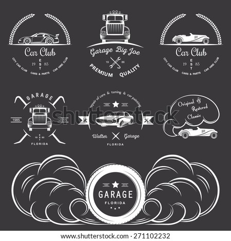 Set of vintage car club, drift club, auto parts and garage labels, badges and design elements. Badges trucks, vintage cars and sports cars. - stock vector