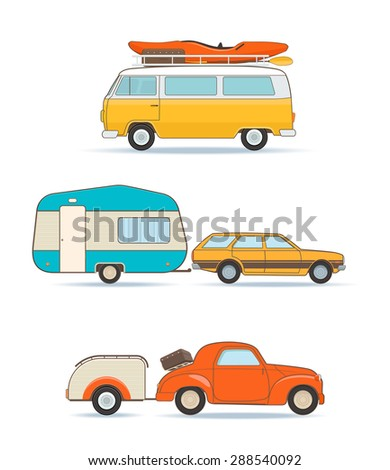 Set of Vintage Caravan and Cars   - stock vector
