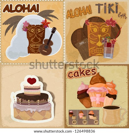 Set of vintage cards - invitations - with food and Hawaiian masks - stock vector