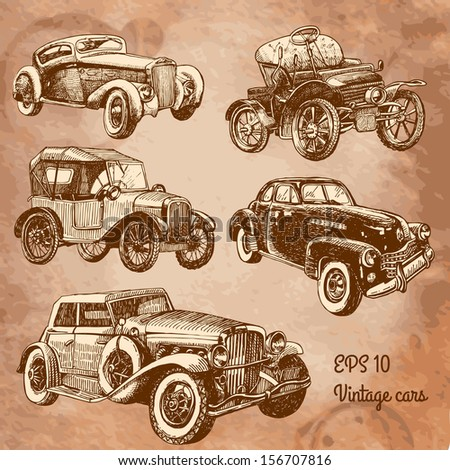 set of vintage cars  - stock vector