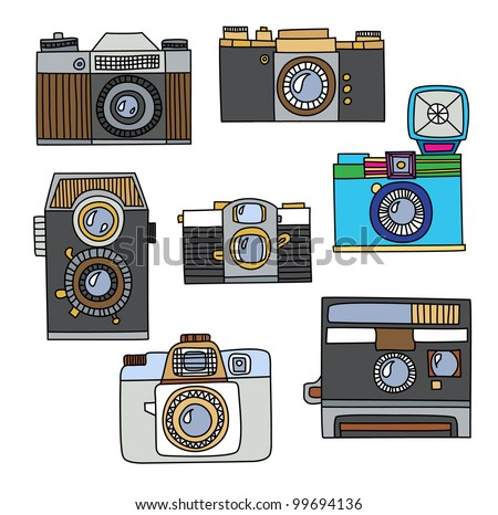 Set of vintage cartoon cameras - stock vector