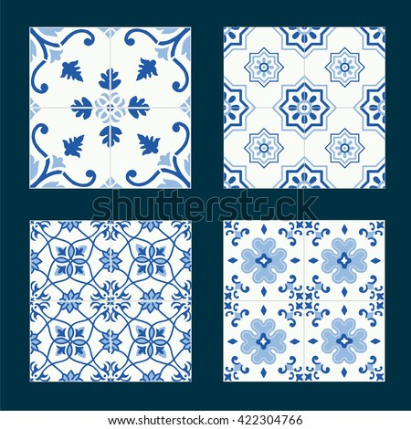 Set of vintage ceramic tiles in azulejo design with blue patterns - stock vector