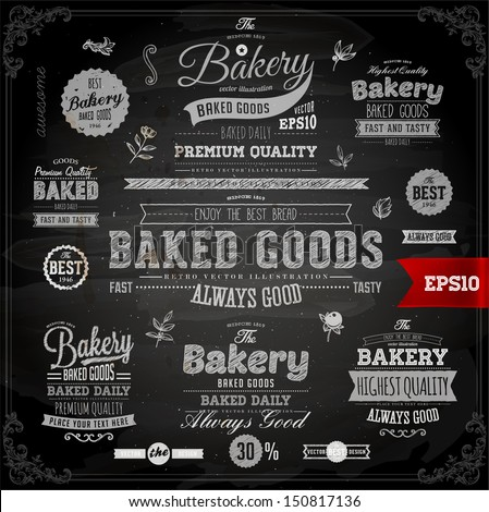 Set of vintage chalkboard bakery logo badges and labels for retro design - stock vector