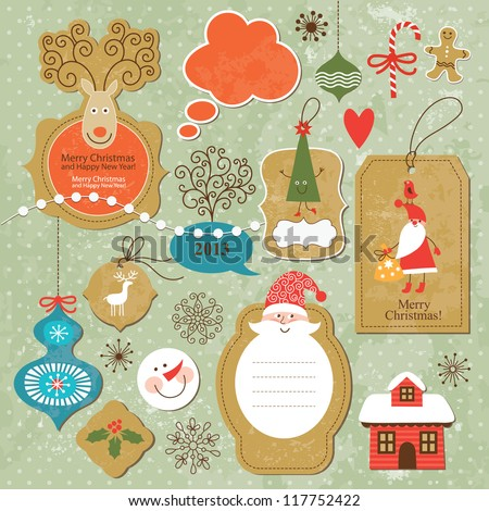 Set of vintage Christmas and New Year elements - stock vector